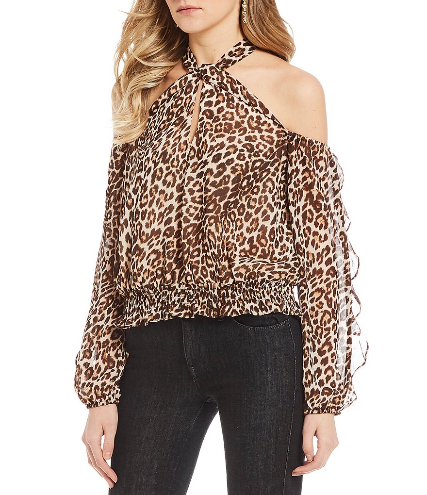 Guess Hannaa Twisted Printed Cold Shoulder Top