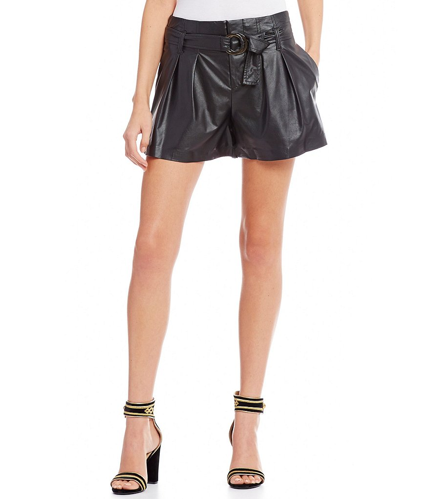 Guess Hex Faux Leather Tie Waist Shorts