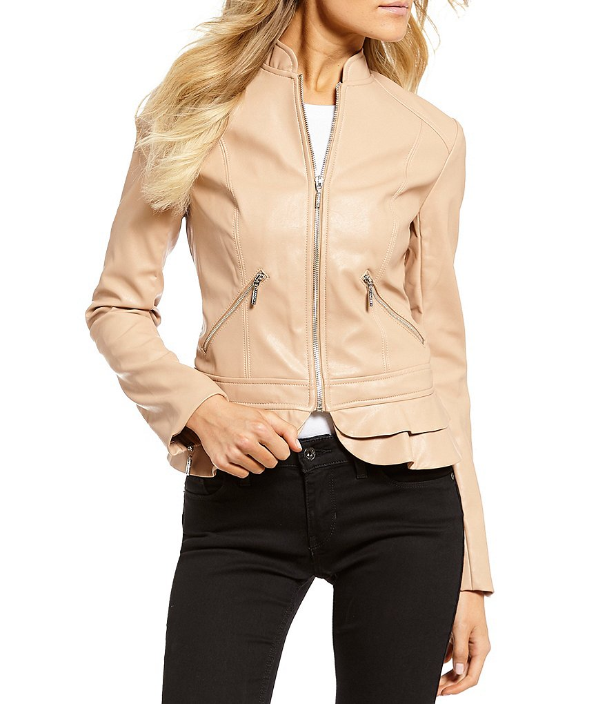 Guess Kate Faux Leather Ruffle Hem Jacket