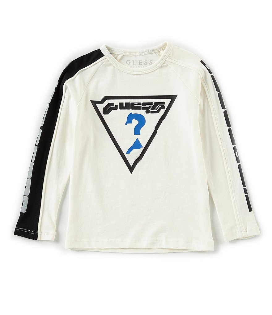 Guess Little Boys 2T-7 Long Sleeve Futuristic Logo Tee