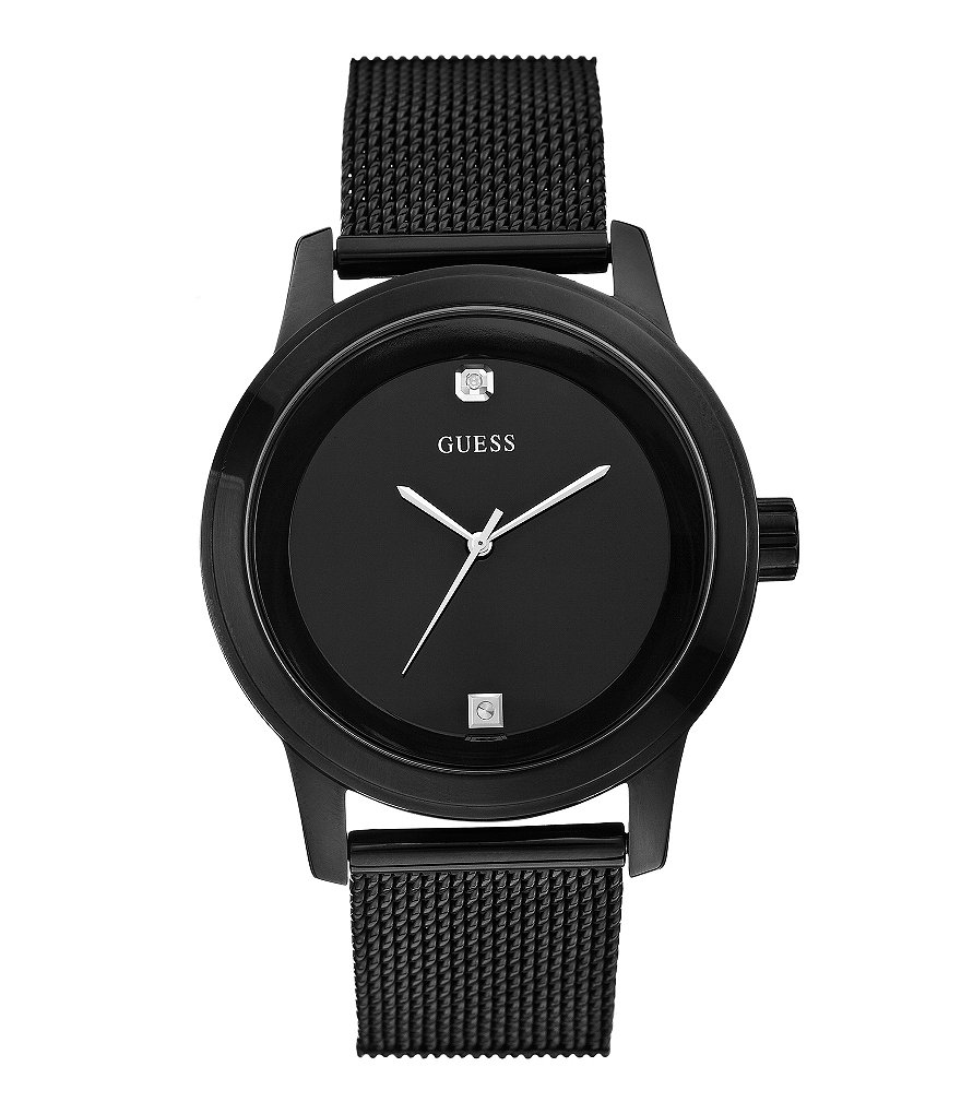 Guess Men's Black IP Stainless Steel Mesh Strap Watch