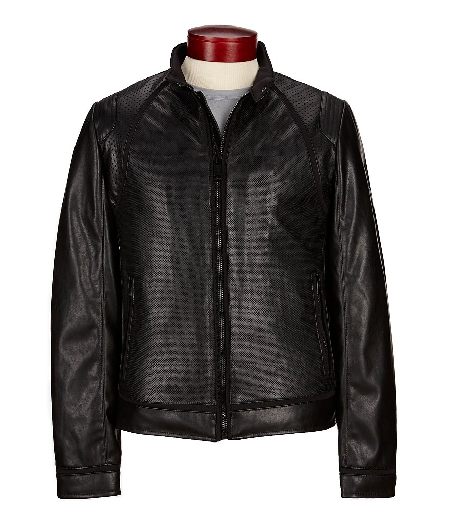 Guess Mixed Punch Faux Leather Biker Jacket