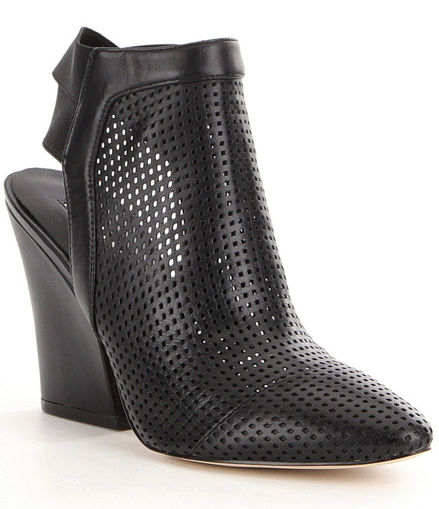 Guess Norine Perforated Leather Slip-On Block Heel Booties