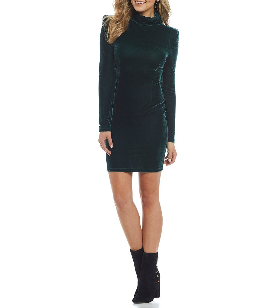 Guess Olga Velvet Mock Neck Long Sleeve Sheath Dress