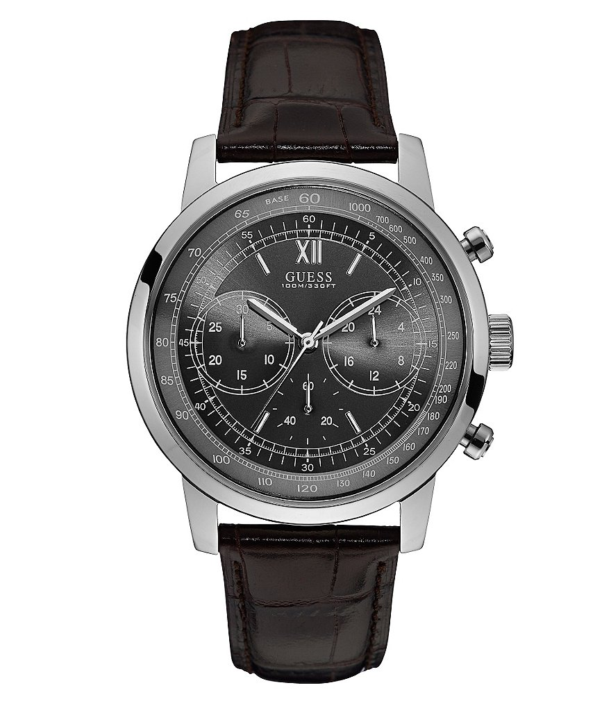 Guess Oversized Chronograph Leather-Strap Watch