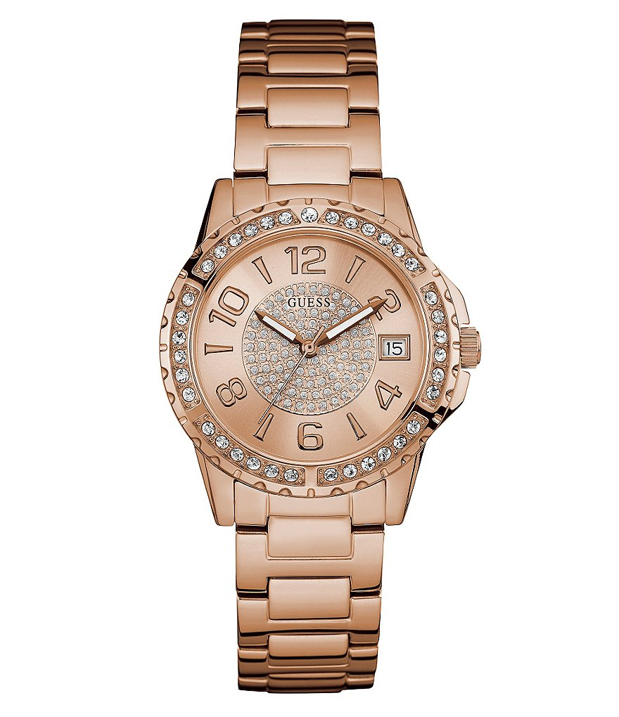 Guess Pavé Analog & Date Stainless Steel Bracelet Watch
