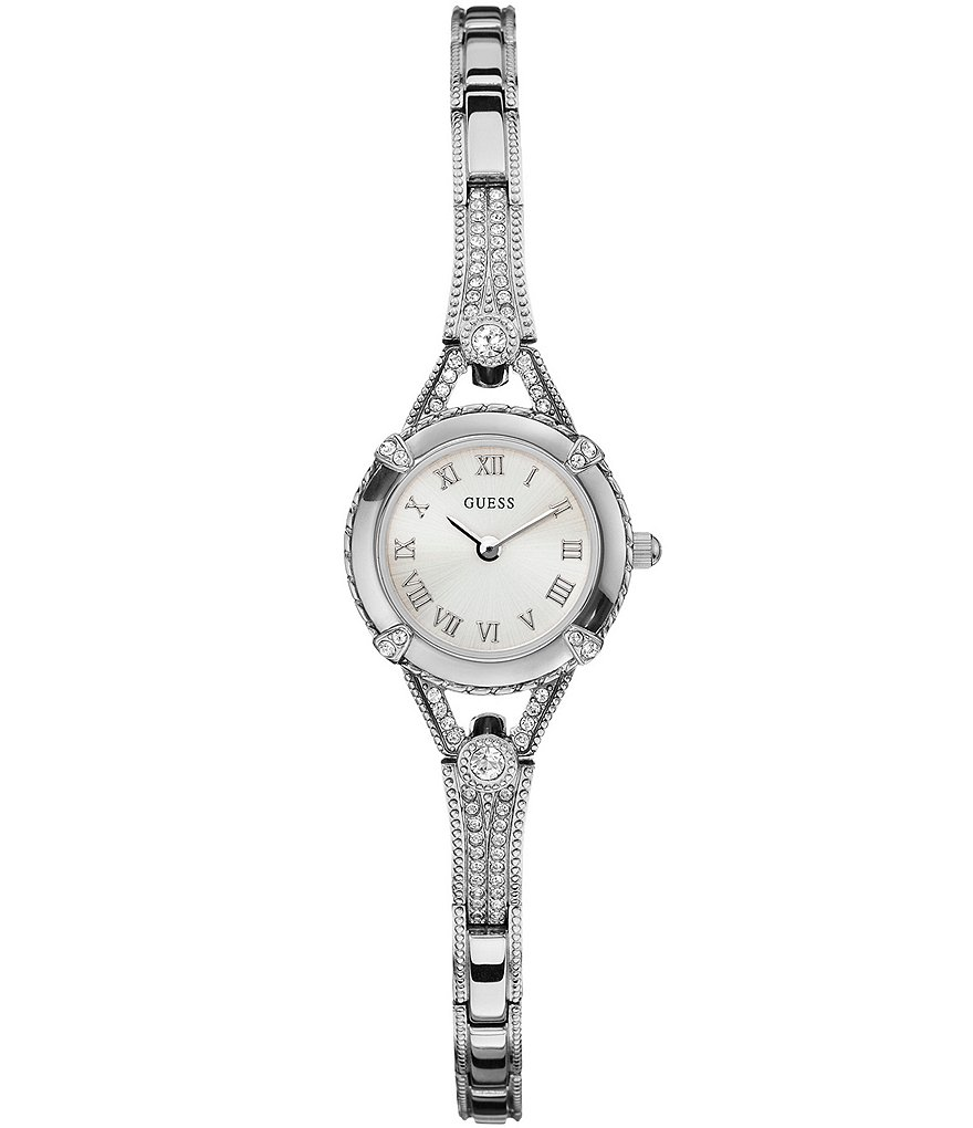 Guess Petite Silvertone Crystal Adjustable Bracelet Dress Watch