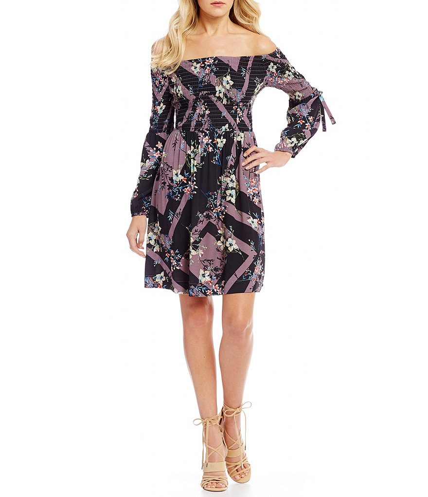 Guess Printed Off-The-Shoulder Smocked Sheath Dress