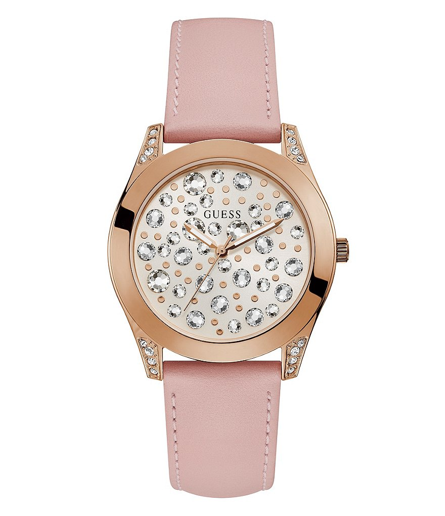 Guess Wanderlust Analog Leather-Strap Watch