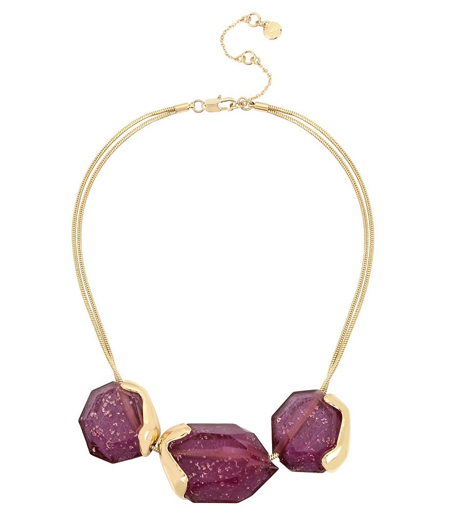 H Halston Amethyst Collar Statement Necklace