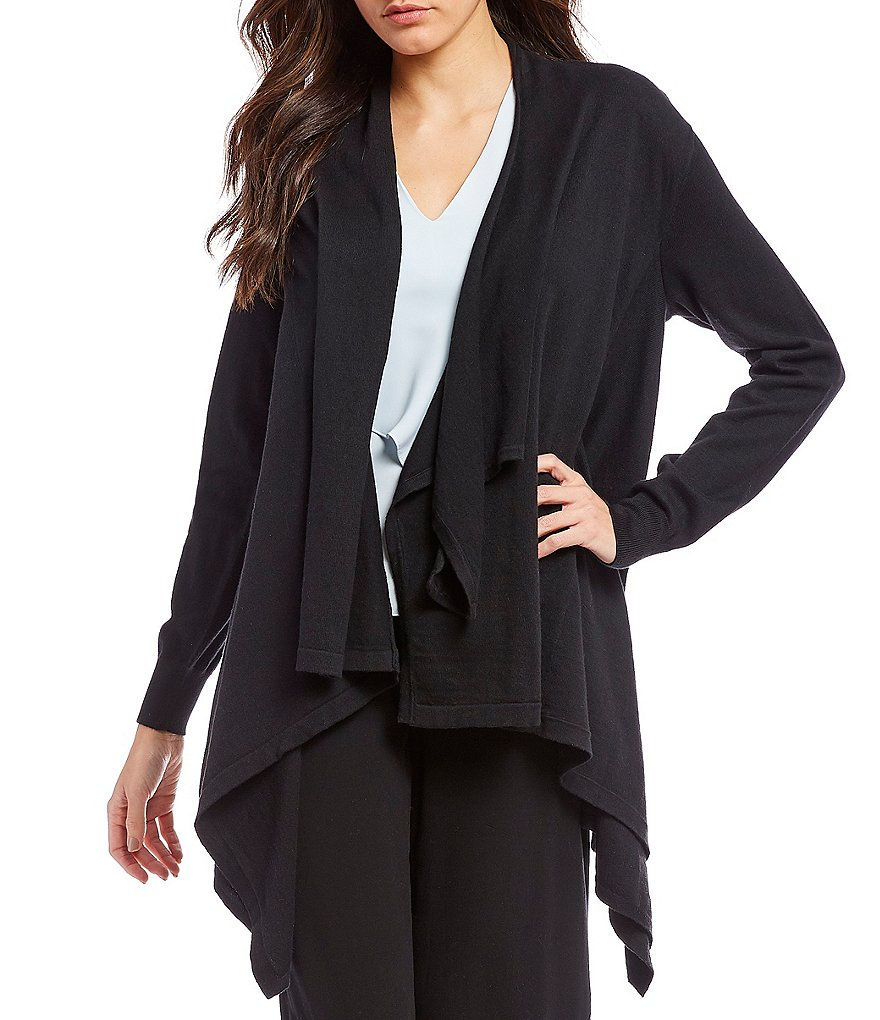 H Halston Asymmetric Cardigan With Button Detail