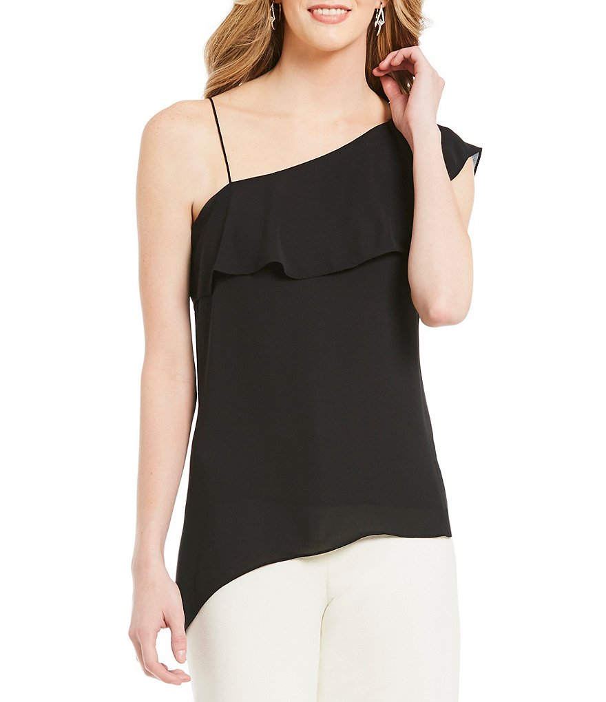 H Halston Asymmetric One Shoulder Top