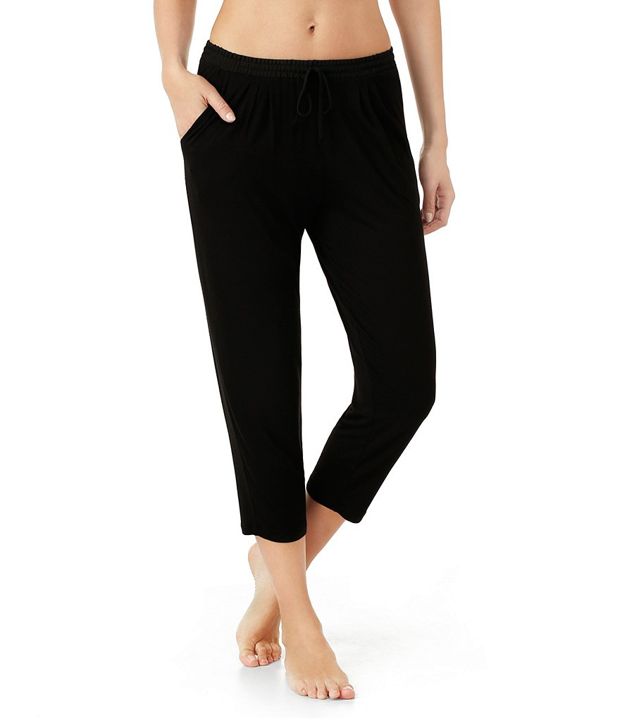 H Halston Basic Georgette-Trimmed Jersey Cropped Sleep Pants