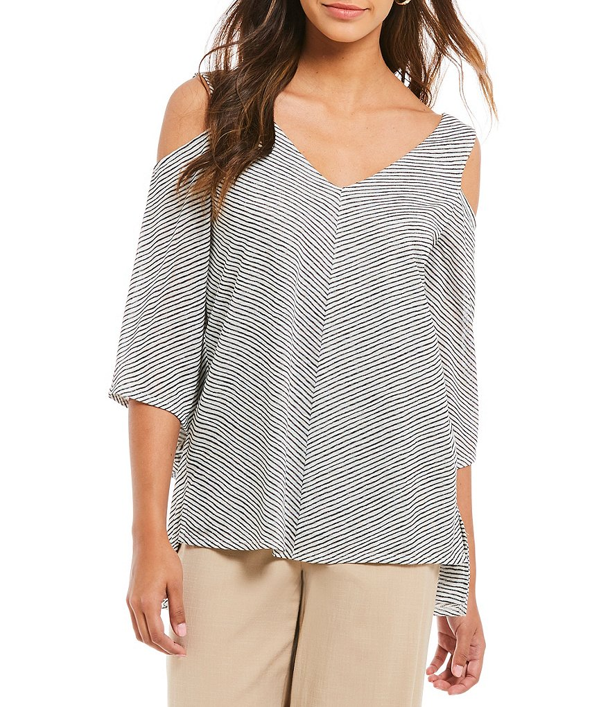 H Halston Cold Shoulder Angled Bell Sleeve Top