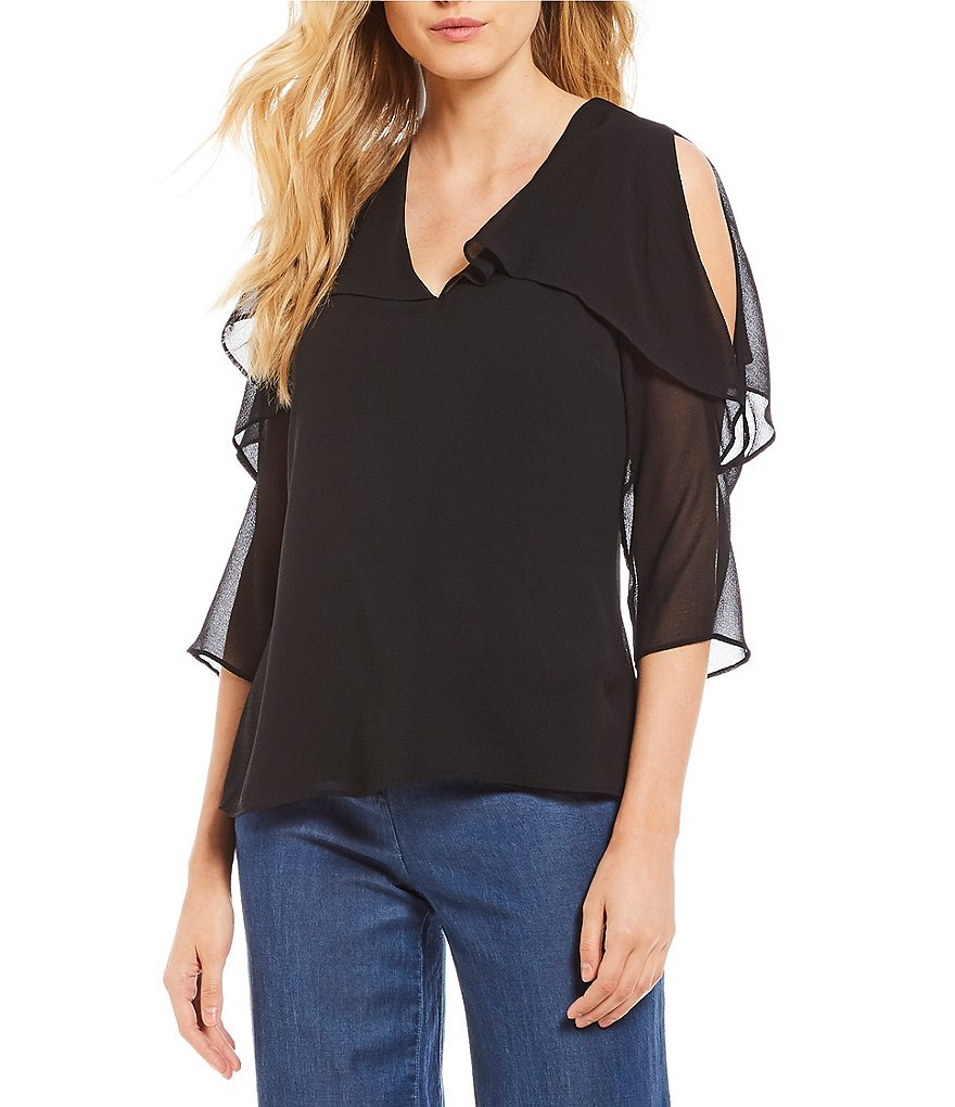 H Halston Cold Shoulder Top With Flounce Overlay