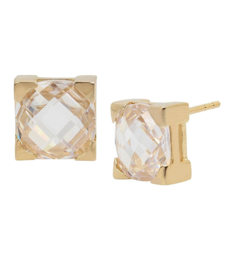 H Halston Cubic Zirconia Square Stud Statement Earrings