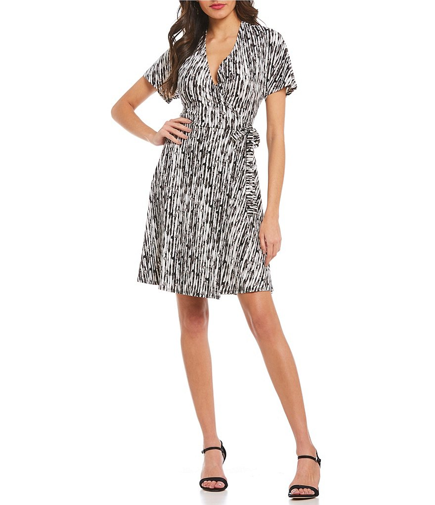 H Halston Dolman Sleeve Wrap Dress