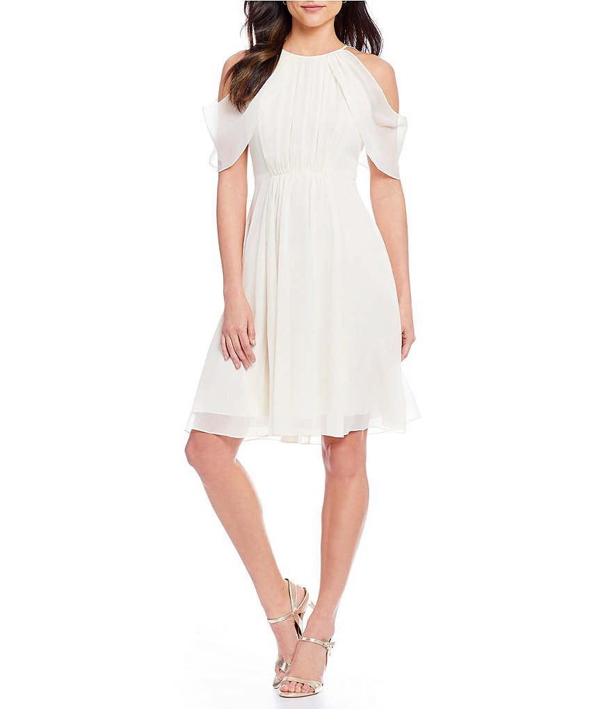 H Halston Draped Cold Shoulder Dress
