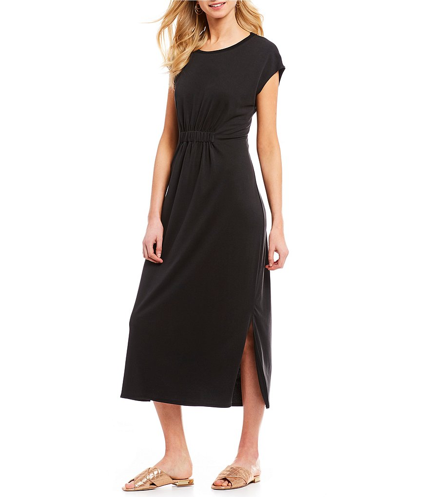 H Halston Elastic Waist T-Shirt Midi Dress