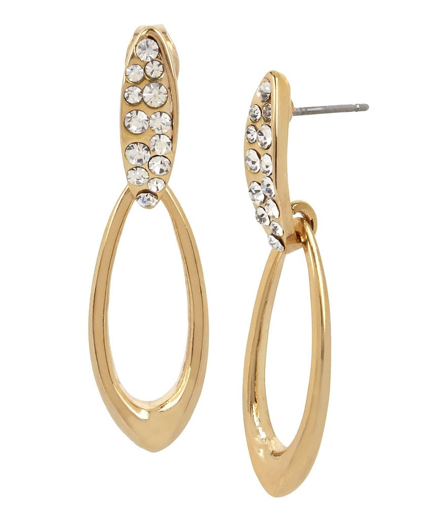 H Halston Faux-Crystal Doorknocker Statement Earrings