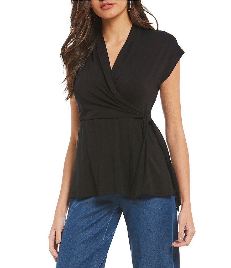 H Halston Faux Wrap Top
