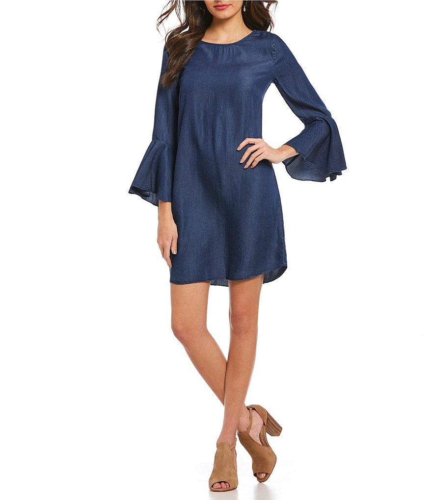 H Halston Flounce Bell Sleeve Dress