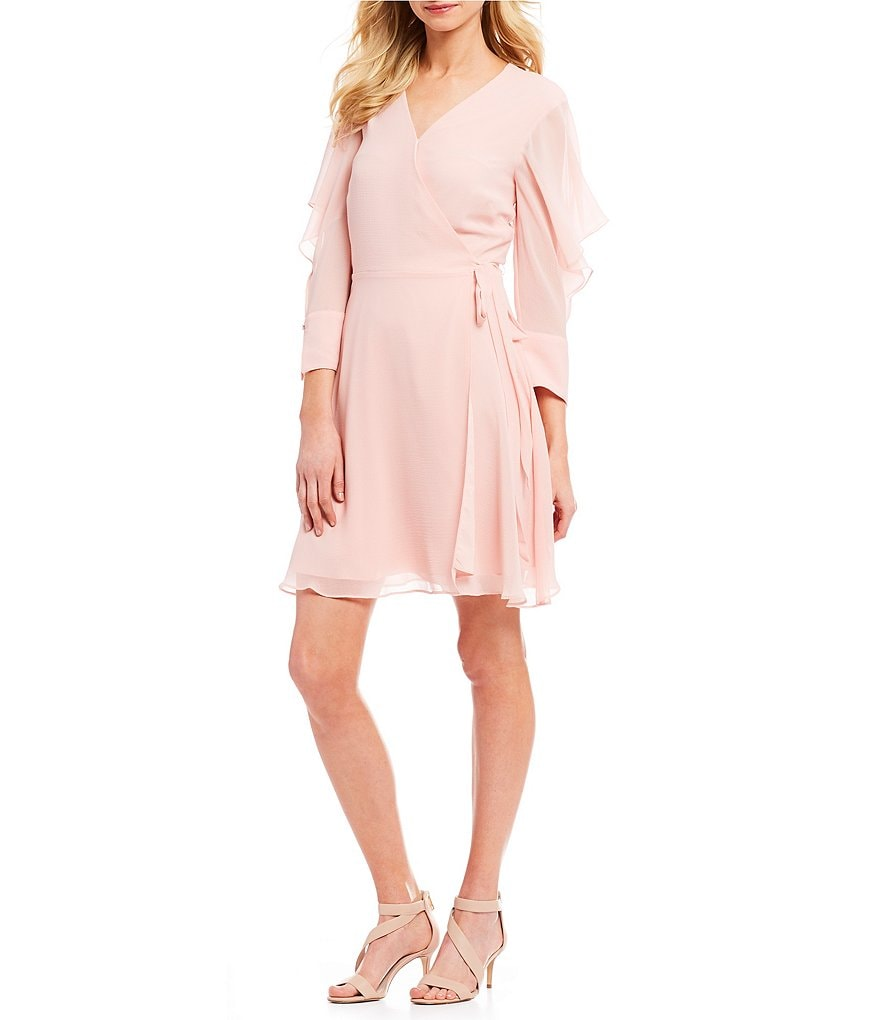 H Halston Flutter Sleeve Wrap Dress