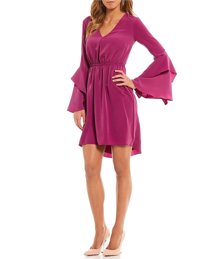 H Halston Hi-Low Tiered Flounce Bell Sleeve Dress