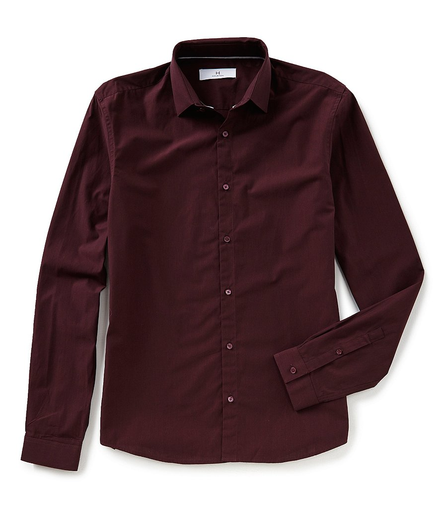 H Halston Long-Sleeve Woven Shirt