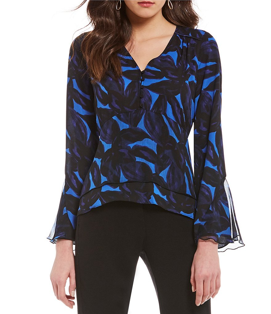 H Halston Mixed Media Bell Sleeve Top