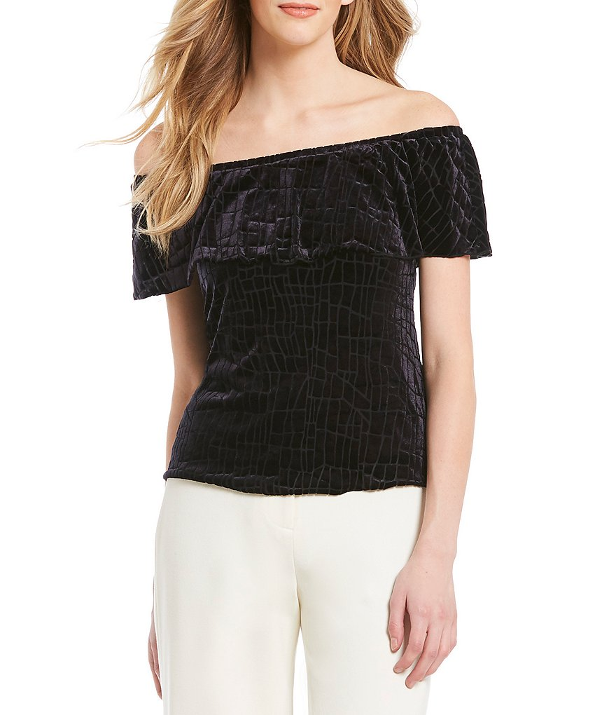 H Halston Off the Shoulder Velvet Top