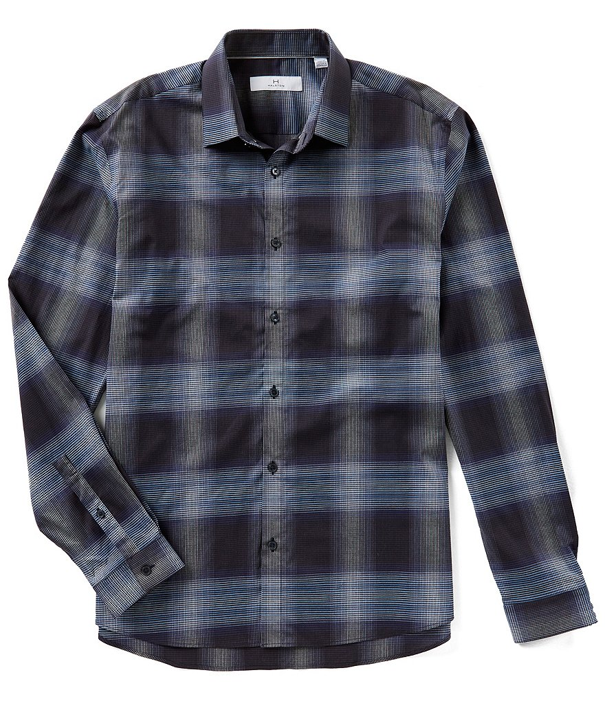 H Halston Ombre Check Long-Sleeve Woven Shirt