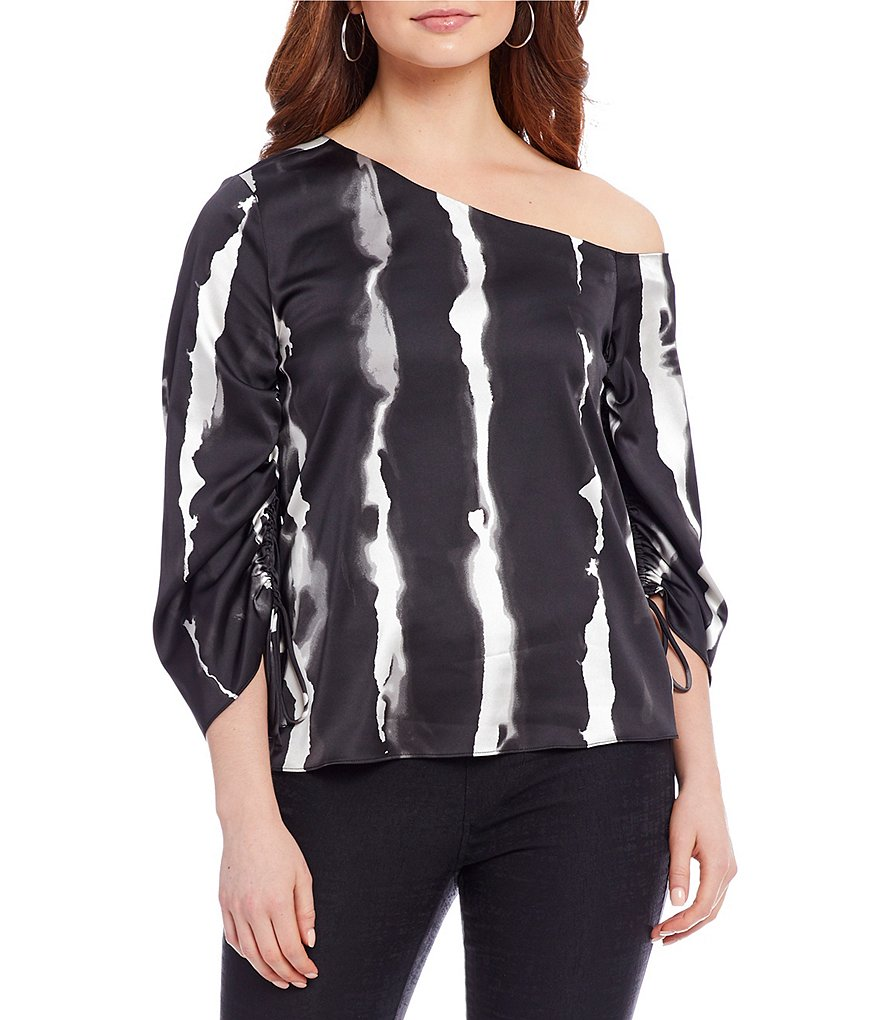 H Halston One Shoulder Top With Drawstring Sleeve