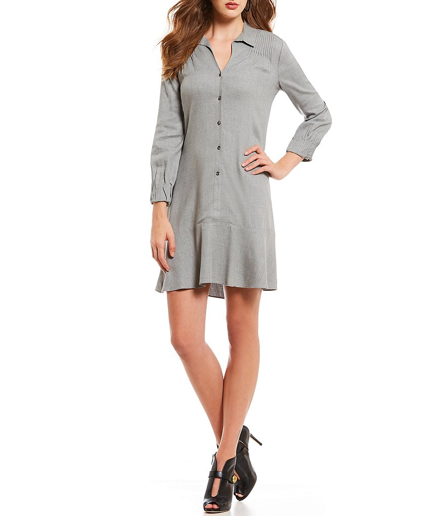 H Halston Pintuck Shirt Dress