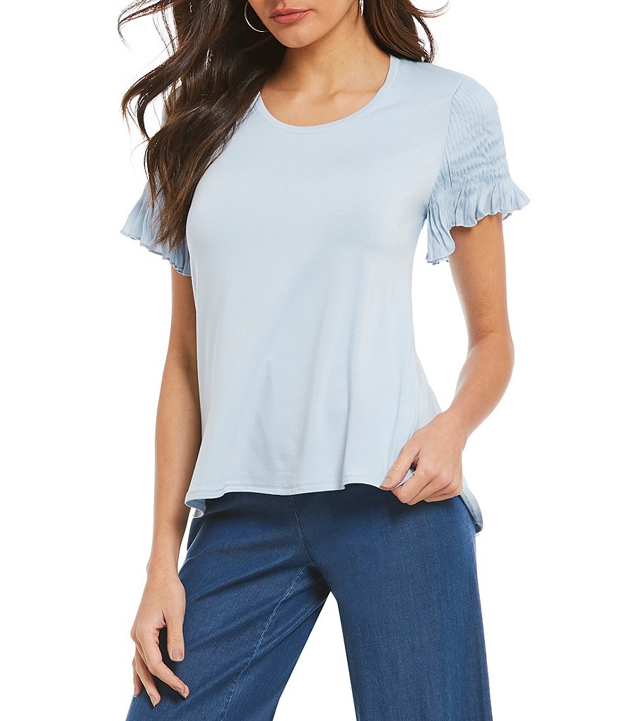 H Halston Pintuck Sleeve Top