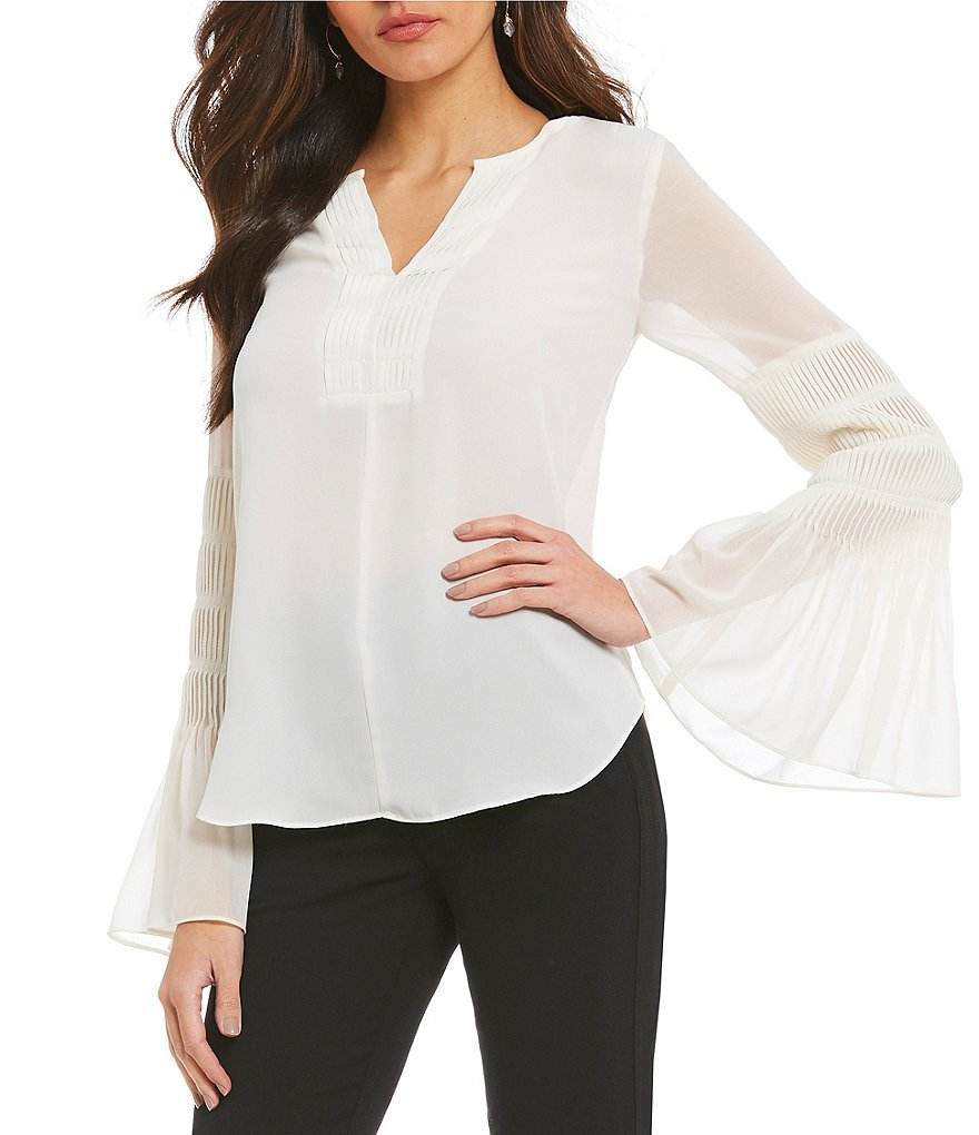 H Halston Pleat Bell Sleeve Blouse