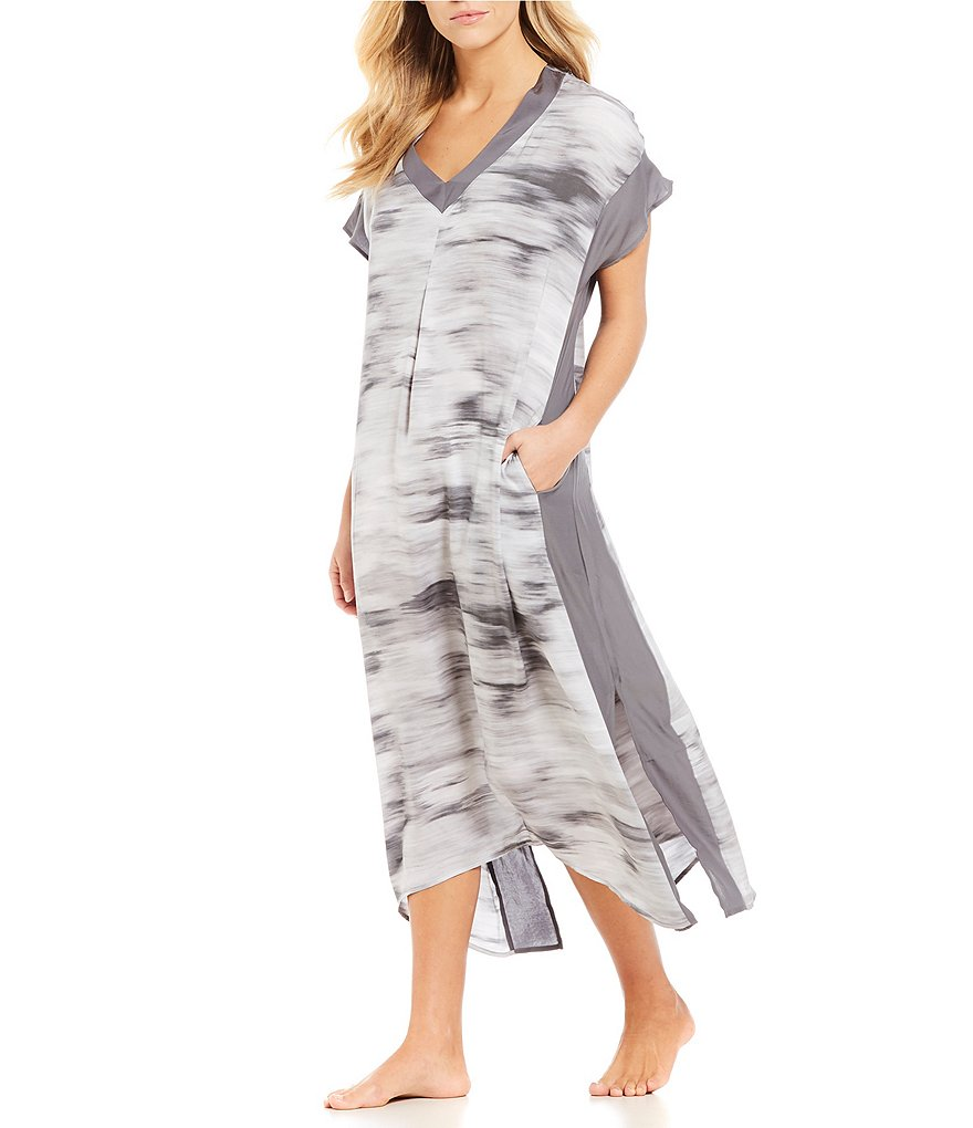 H Halston Abstract Satin & Georgette Caftan