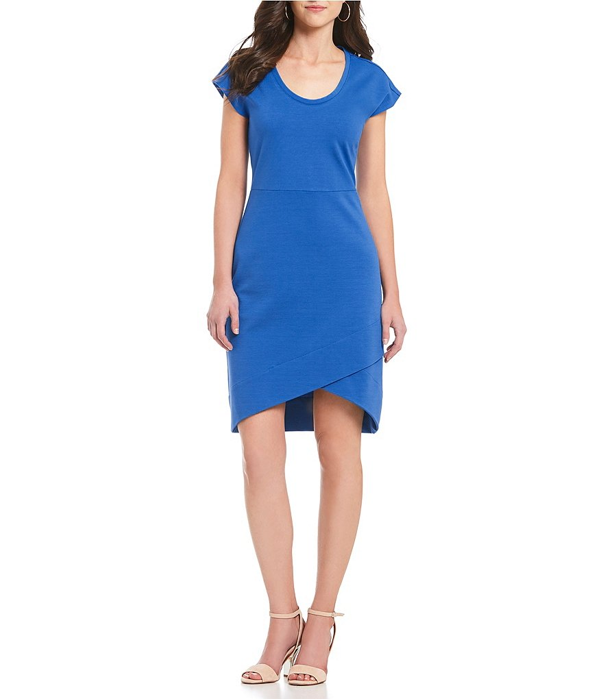 H Halston Sheath Dress With Asymmetric Hem