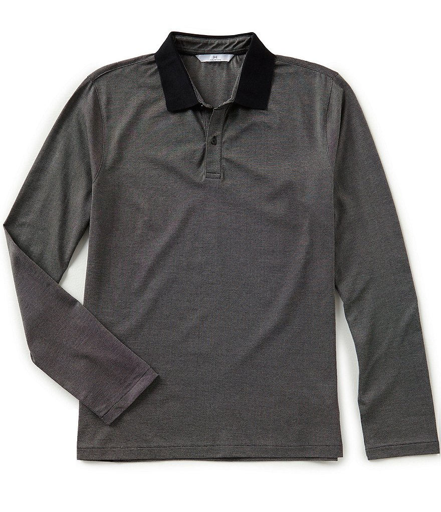 H Halston Solid Long-Sleeve Polo Shirt