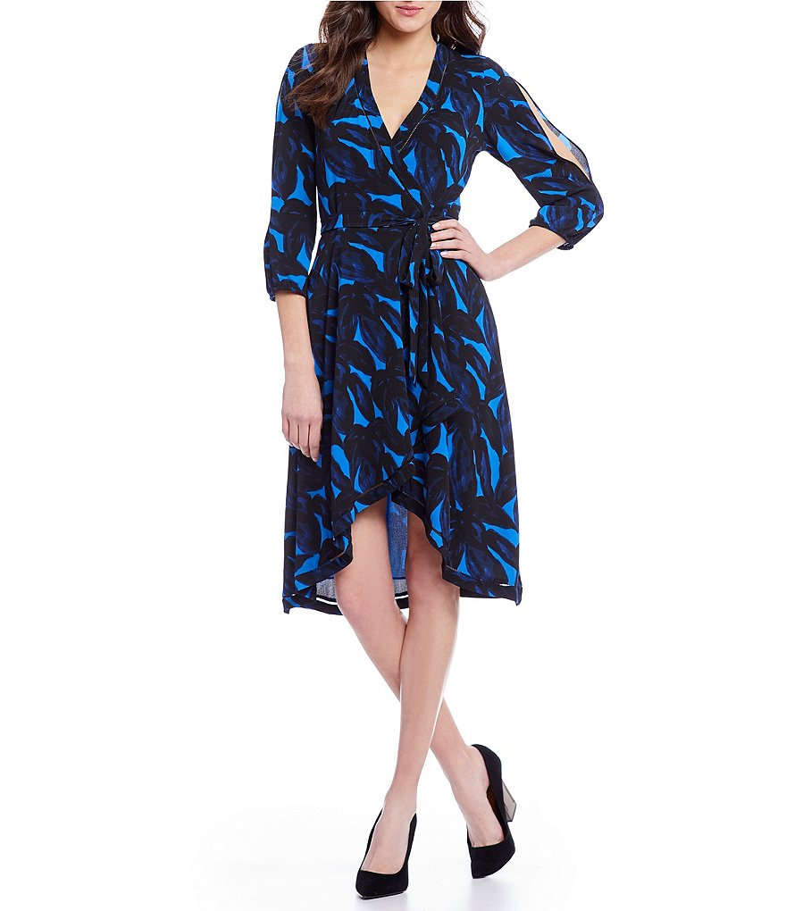 H Halston Split Sleeve Wrap Dress