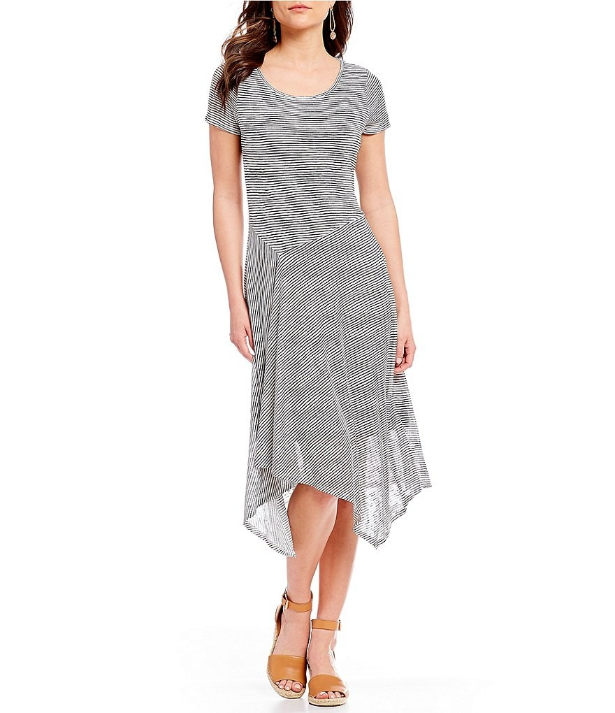 H Halston Stripe Asymmetric Drape Midi Dress