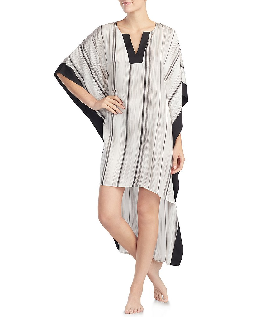 H Halston Textured Stripe Washed Satin Caftan