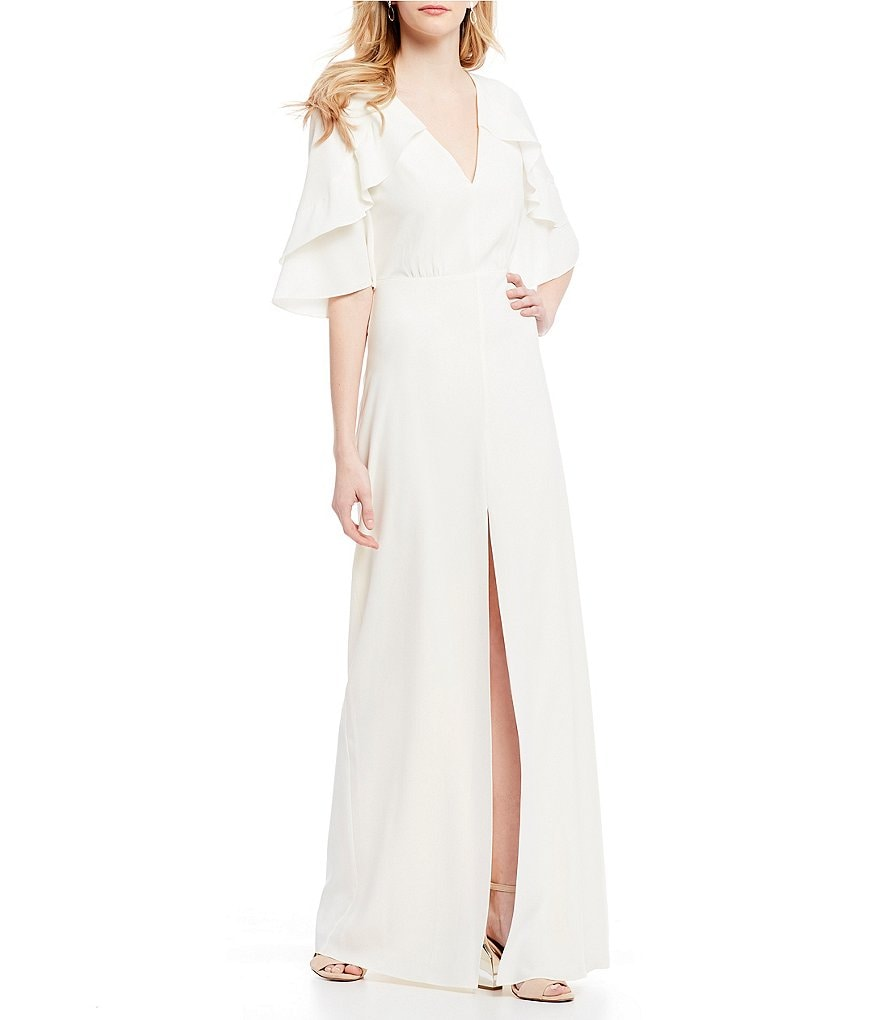 H Halston V-Neck Tiered Ruffle Sleeve Front Slit Gown