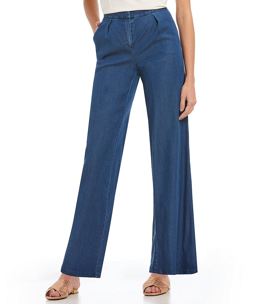 H Halston Wide Leg Denim Trouser