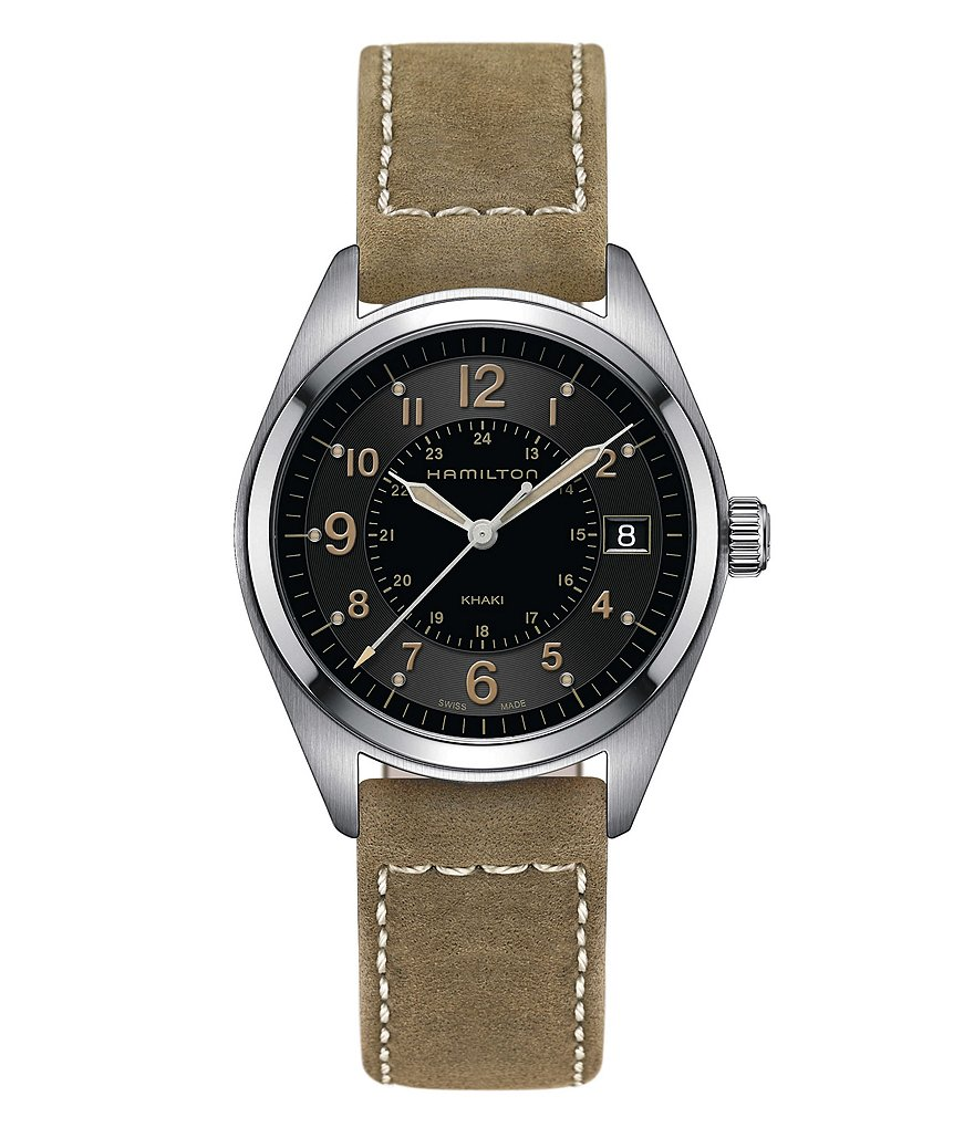 Hamilton Khaki Field Analog & Date Leather-Strap Watch