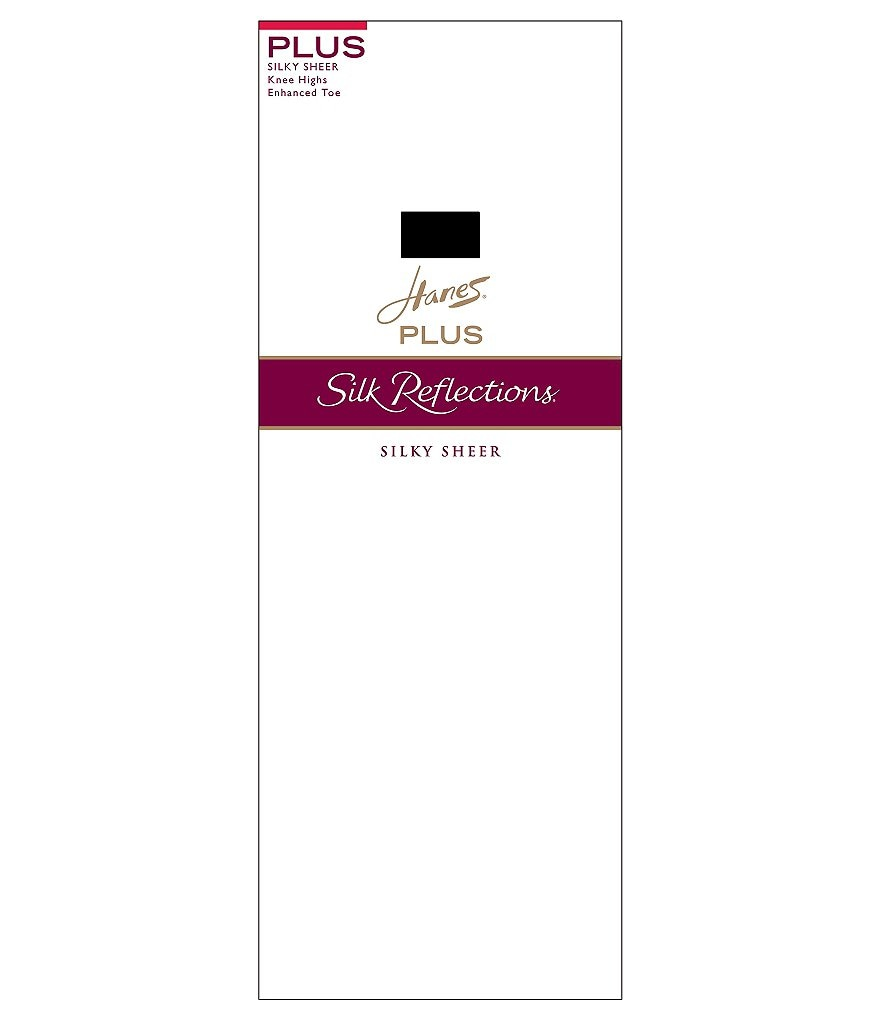 Hanes Silk Reflections Plus Reinforced-Toe Wide Comfort Band Knee Highs 2-Pack