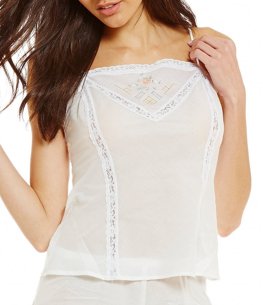 Hanky Panky 40th Anniversary Lace-Trimmed Embroidered Camisole