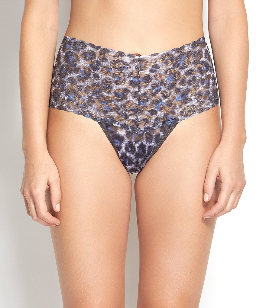 Hanky Panky Mysterious Feline Leopard-Print Retro Lace Thong