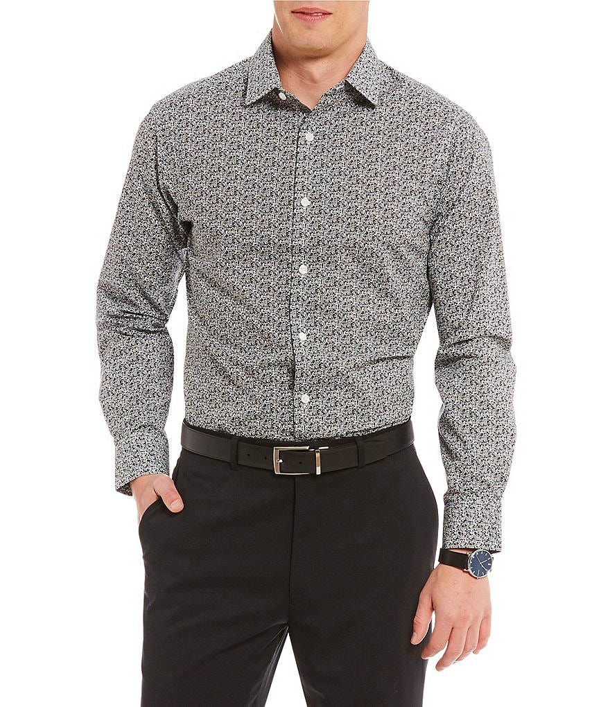 Hart Schaffner Marx Abstract Print Spread Collar Sportshirt