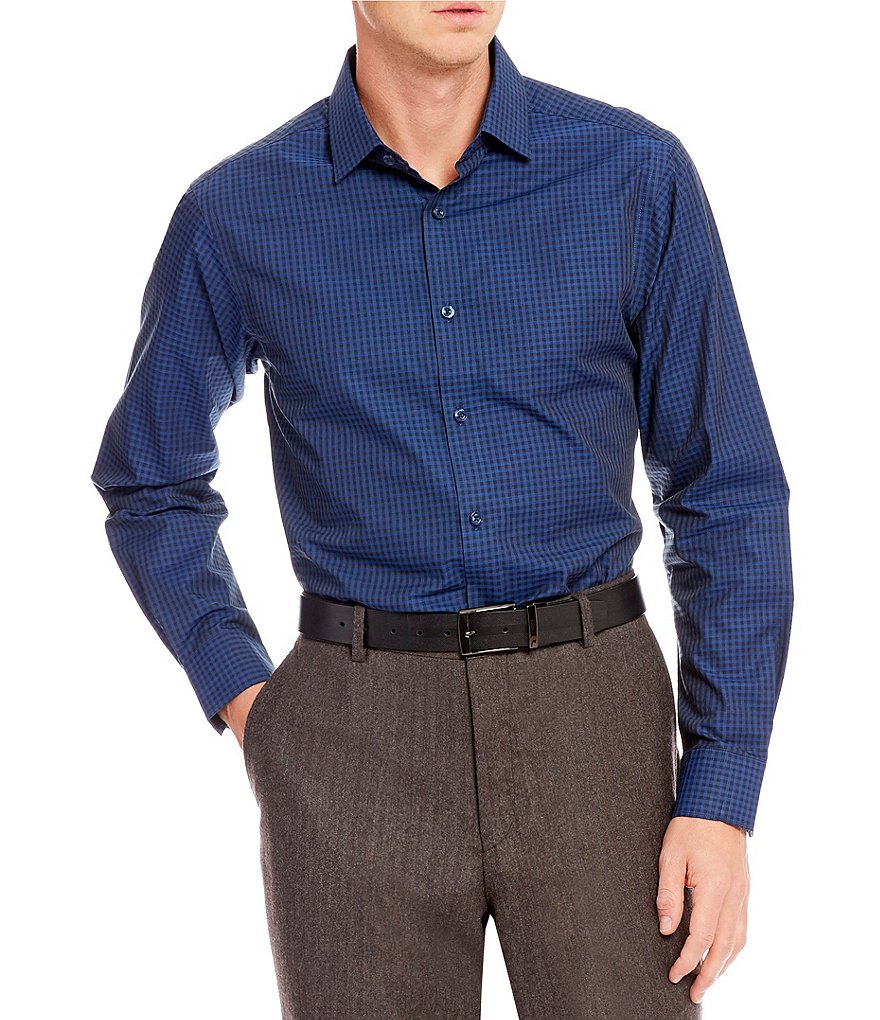 Hart Schaffner Marx Big & Tall Dobby Check Spread Collar Sportshirt